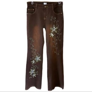 Cache embroidered embellished bootcut jeans Sz 4